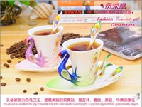Wholesale Peacock Coffee Cup Ceramic Creative Mug Bone China D Color Enamel Porcelain Saucer Spoon Coffee Tea Sets for friend Gift Christmas gifts