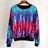 Cheap 2016 New Fashion Women Hoodies Glitter Gradient Beading Sequined Pullover Sweatershirts 4Color