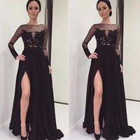 Wholesale Vestidos De Novia Arabic Kaftan A line Split Prom Evening Dress Party Gowns Formal Dresses with Long Sleeve Dubai