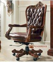 american leather swivel chair - American wood Swivel chair Leather computer chair The boss chair