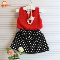 Wholesale 2016 New Summer Casual Girls Clothing Sets Bow Baby Girl Clothes Short Coat Tutu Skirt Suit Children Clothing Set