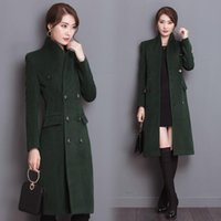 Wholesale Top Quality winter women s Double Breasted woolen coat Stand Collar PU Leather Patchwork wool Trench Coat Long overcoat
