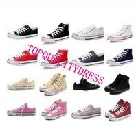Wholesale Retail red whiteNew quality Classic Low Top High Top canvas Casual shoes sneaker Men s Women s canvas shoes Size EU35 retail