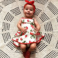 baby strawberries - 2016 INS hot baby girl kids toddler strawberry jumpsuits cotton belt shorts pants lace ruffles romper overall diaper covers dress