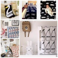 Wholesale 50PCS LLA174 Kids Cartoon Ins Sofa Blankets Cross Clouds Bed Blankets Egg Swan Knitted Sheets Styles