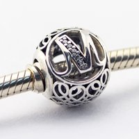 Wholesale 2016 Vintage M Clear CZ Sterling Silver Bead Fit Pandora Bracelet Fashion Jewelry DIY Charm Brand