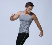 Wholesale Men Training Vest Gym Athletic Apparel Sport Tight Tank Top T shirt S M L XL Polyester