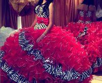 al por mayor vestidos de baile de cebra-Vestido largo del vestido del baile de fin de curso del vestido del vestido de bola de los vestidos de Quinceanera de la nueva cebra del resorte 2016 Rojo Vestido largo del piso del baile de fin de curso del vestido de la bola Vestidos De 15 Anos Tamaño más