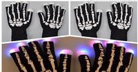 Wholesale 2016 Halloween christmas Skull gloves hot selling LED flash gloves Dancing glow LED gloves Concert noctilucent gloves Flash gifts Free DHL