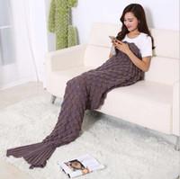best air beds - fashion Crochet Mermaid Tail Blanket Super Soft Warmer Blanket Bed Sleeping Costume Mermaid Air condition Knit Blanket Autumn Winter best