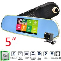 automotive camera - Android inch Car GPS Rearview Mirror Dual Lens P DVR Rearview Camera WIFI Functions with GB IGO Maps