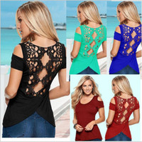 Wholesale Women s sexy halter short sleeved T shirt Lace blouse strapless slit