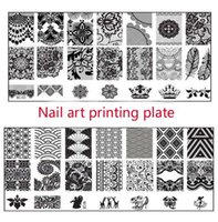 Wholesale Nail manufacturers selling DIY blue film printing template Square steel coloured drawing or pattern Nail plate BC system