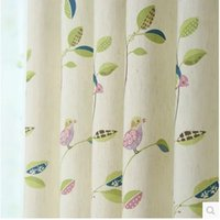 bay window doors - curtains Cotton tailored high quality finished living room bedroom balcony Bay window curtain bird pattern window curtain