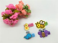 bee hair clips - Kawaii Cute Embroidery Animals Chicken Dolphin Butterfly Bee Baby Infant Barrettes Newborn Baby Hairpins Babies Hair Clips Set