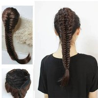 Wholesale New Style Synthetic Long Wavy Braided Hair inch Braid Fishtail Plait Ponytail Handmade Elastic Drawstring Rope Hair Chignon