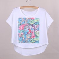 big bird shirts - Flower bird print women summer dress big size batwing sleeved t shirts girls top tees new arrival fashion apparel mixed order