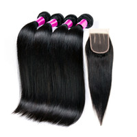 Wholesale Brazilian Human Hair With Closure A Brazilian Straight Lace Closure With Bundles Peruvian Straight Hair With Closure