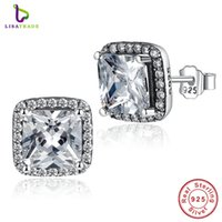 asscher cut jewelry - 100 Sterling Silver Asscher Cut CZ Zirconia Small Stud Earrings In Women Earrings Jewelry PAS458