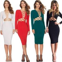 beauty night fashion - Dress Sexy Dresses Cheap Apparel Unique Design Autumn Hot Personality Bodycon N neck Many Colors Luxury Fashion Night Club Beauty