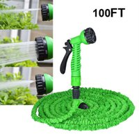 33FT initially & expands to up to 100FT 100FT Expandable  Flexible Garden Water Hose With Spray Nozzle Head 100FT Expandable Green Color Green Color free shipping