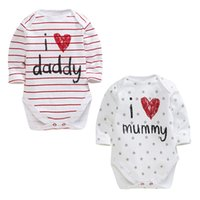 Wholesale Toddler Babies Long Sleeve Jumpsuit Infant Newborn Baby Overall Mummy And Daddy Pattern Funny Kids Stripe Print Pattern Clothing Rompers