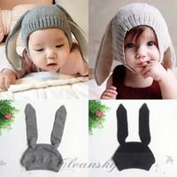 baby bunny ears hat - Unisex Newborn Kids Baby Girls Boys Winter Warm beanie Knitted Hats Cute Rabbit Long Ear Hat Soft Crochet Baby Bunny Hats Baby Bonnet Z341