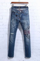 air force pants - High quality men s air force rhinestone luxury jeans denim pants punk man casual jeans TOP QUALITY size