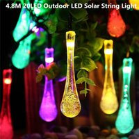 Cheap 4.8M 20LED Outdoor Led Christmas Lights Waterproof Water Drop LED Solar String Light Fairy Lights for Outdoor Lighting