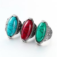 Bohemian antique look rings - Fashion Jewelry Vintage Look Tibetan Alloy Antique Silver Plated Personality White Oval Turquoise Ring DHL