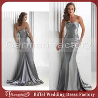 Cheap Classic Silver Bridesmaid Dressed Strapless Beaded Ruched Bodice Mermaid Court Train Elastic Satin Vintage Corset Wedding Party Dresses