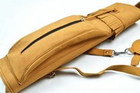 archery leather quiver - New Fashion Suede Hand Crafted Leather ry Quiver Slung on Shoulder Fiberglass Arrows Holding Black Yellow Color for Hunting