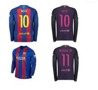 Wholesale 2016 Long sleeve shirt JORDI ALBA Barcelonace Long sleeve t shirts futbol shirts BARTRA BUSQUETS ARDA Jersey shirt Messi Jersey shirt