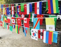 Wholesale 50pcs set cm cm countries string flag all foreign flag all the nations of the world small flag flag hanging flags