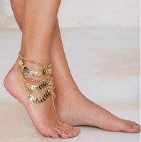 Wholesale Gold Plated Anklets Women New Fashion Vintage Exaggerated Multi layer Leaves Tassel Chains Alloy Foot Jewelry Drop Shipping BR244