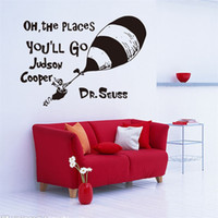 Wholesale 57x40cm English Motto OH The Places You ll Go Hot Air Balloon Wall Stickers Peel and Stick Removable Art Mural Wall Sticker Kids Room Decor