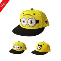 Wholesale 2016 Fashion Baseball Cap God Steal Dads Film Yellow People Minions Children Flat Snapback Hip hop Caps for Boy And Girls Canvas