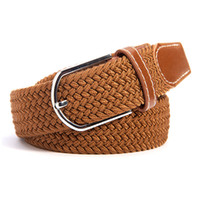 Cheap Wholesale-Mens Womens Canvas Plain Webbing Metal Buckle Woven Stretch Waist Belt Colors