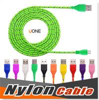 оптовых braided cable-Micro USB-кабель S7 Пограничный S7 S6 High Speed Нейлон Плетеный Кабели зарядки синхронизации данных Прочный 3FT 6FT 10Ft нейлоновые тканые шнуры для HTC Sony LG