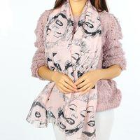 beach processes - women beauty Avatar printed Curling process scarves Gauze breathable pink Chiffon silk scarf Leisure beach towel