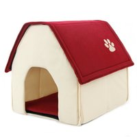 Wholesale 2016 New Arrival Dog Bed Cama Para Cachorro Soft Dog House Daily Products For Pets Cats Dogs Home Shape Color Red Green love