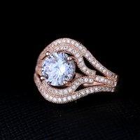 Bague en laiton bijoux de mode aigue-marine cubique zircone pierres rose or plaquage haute qualité populaire anneau style USA bijoux Livraison gratuite