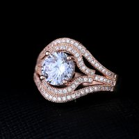 aquamarine cubic zirconia - Brass fashion ring aquamarine cubic zirconia stones rose gold plating high quality popular ring USA style jewellery