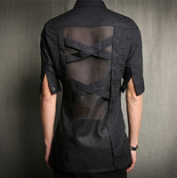 Cheap Wholesale-2016 Harajuku Gothic Clothing Fashion Casual Sexy Mens See Through Shirts Fitted Men Dress Short Sleeve Patchwork Mesh Shirt
