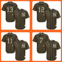 baseball brett - 2016 Yankees Alex Rodriguez Chase Headley Brett Gardner Mickey Mantle Green Salute to Service Stitched Baseball Jersey