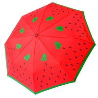 Wholesale hot sale fashion creative lovely watermelon portable folding suny and rainy umbrella Sales promotion