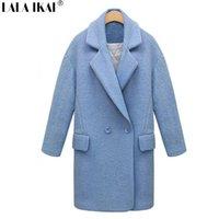 Wholesale Womens Long Pattern Turndown Collar Women Woolen Coat Double Breasted Pocket Wool Coat Female SWN0028