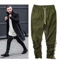 Wholesale New Fashion Mens Elastic Pencil Pants Jogger Kanye West Ankle Zipper Men Hip Hop Solid Drawstring Trousers For Hipster