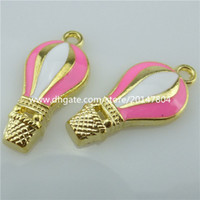 balloon jewelry - 14073 Enamel Hot air Balloon Pink Ballon Pendant Charms Jewelry Making