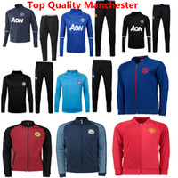 Wholesale Training Suits City Tracksuits United Jackets Pogba Soccer Jerseys Silva Jackets Sweater Ibrahimovic Training Sets Kits de bruyne hoody Man